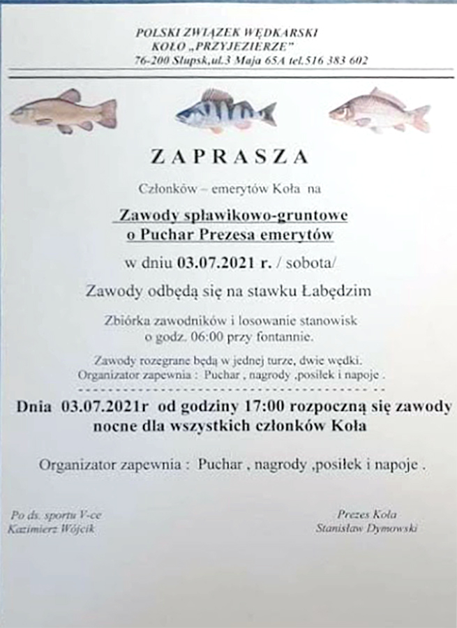 Zawody z dnia 3.7.21 na Stawku Łabędzim w Słupsku