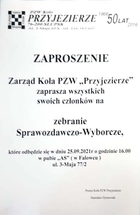 Zebranie sprawozdawczo-wyborcze PZW Przyjezierze 2021